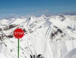Stop. Avalanche sign in Georgia ski resort