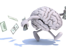 human brain with arms and legs run away with dollar notes on hands, 3d illustration