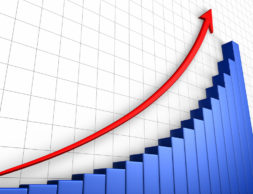 Business growth graph with grid and arrow positive trend