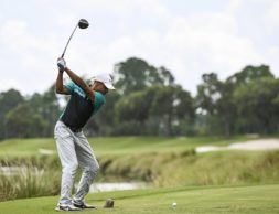 ST. AUGUSTINE, FL - JULY 09:  Karim Muhammad hits a tee shot on the 18th hole during the first round of an APGA Tour event on the Slammer & Squire Course at World Golf Village on July 9, 2020 in Saint Augustine, Florida. (Photo by Keyur Khamar/PGA TOUR via Getty Images)